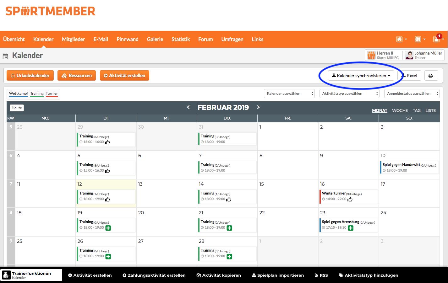 Kalender synchronisieren SportMember